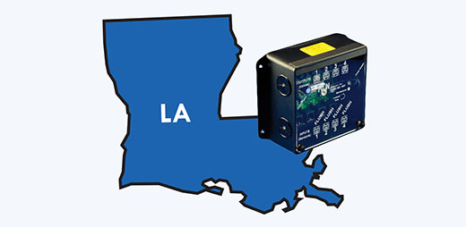 Outline of Louisiana and an old controller